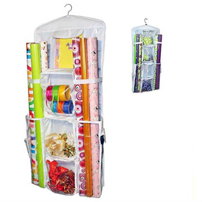 Amazon: Double-Sided Hanging Gift Wrap Organizer Storage Bag,Wrapping Paper Storage Holder(White)