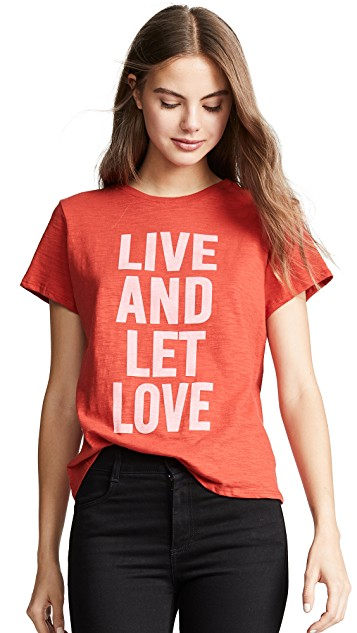 CINQ A SEPT LIVE AND LET LOVE GRAPHIC TEE