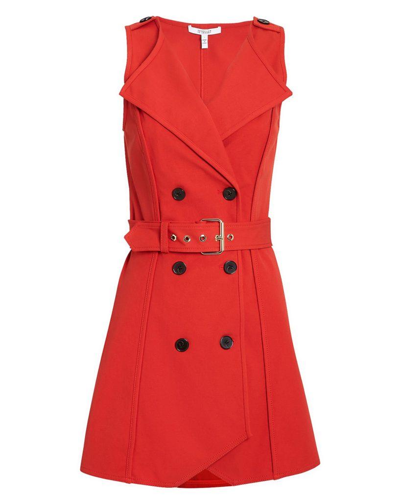 DEREK LAM 10 CROSBY BELTED RED TRENCH DRESS