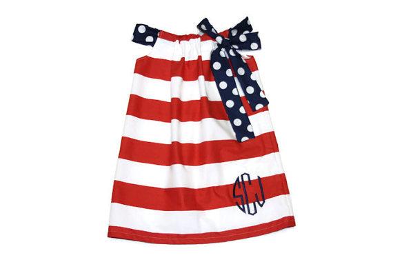 Red Patriotic Stripe Baby, Toddler & Girl's Dress