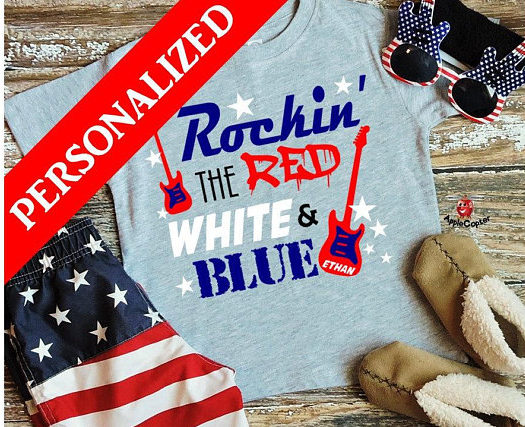 Boys Rockin' The Red, White & Blue Personalized T-Shirt