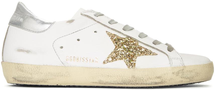Golden Goose – White And Gold Glitter Superstar