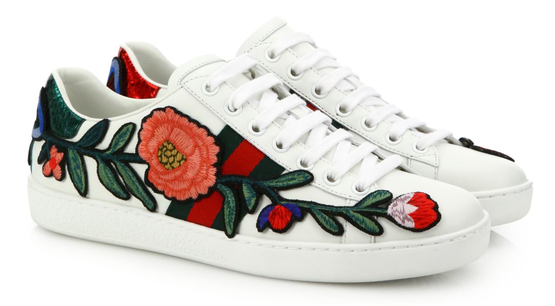 GUCCI – New Ace Floral – Embroidered Leather Low-Top Sneakers