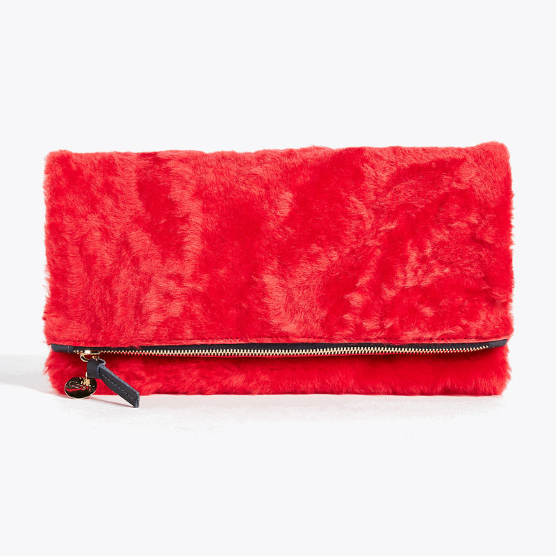 Clare V Shearling Fold Over Clutch