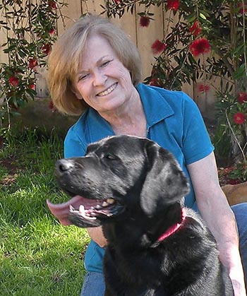 Terry with her Labrador retriever, Angus