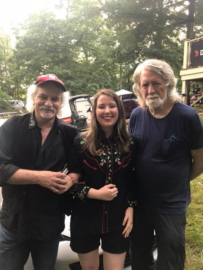 Look who caught my show in Bean Blossom, Illinois: Mark Cartsonis (guitarist), me, and John McEwen (founding member of the Nitty Gritty Dirt Band)