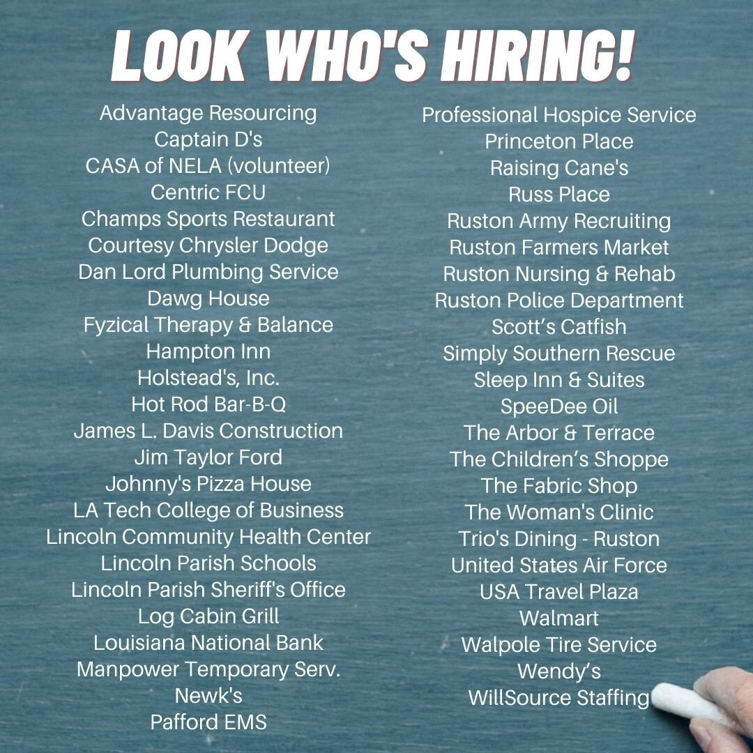 It's Friday! Here's the updated list of Chamber members who are hiring. Some specific job openings are available here - https://business.rustonlincoln.org/jobs/