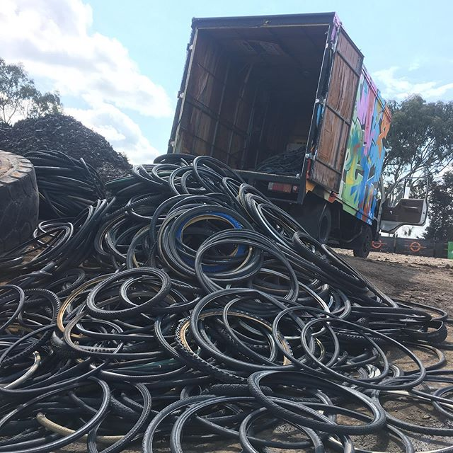 Here we have 1025 tyres & 730 tubes collected from several bike shops in Melbourne. This equates to 640kg of rubber diverted from landfill to be processed into renewable products. A big thank you to @melbournebicycles for generously lending me their truck for this big delivery! . . . . #recyclebiketyres #recyclebiketubes #recyclebiketyresandtubes #upcycling #recycling #bepartofthesolutionnotthepollution #tyrecrumb #tyretower #epicstacks #tyrecycle #100percentrecycledrubber