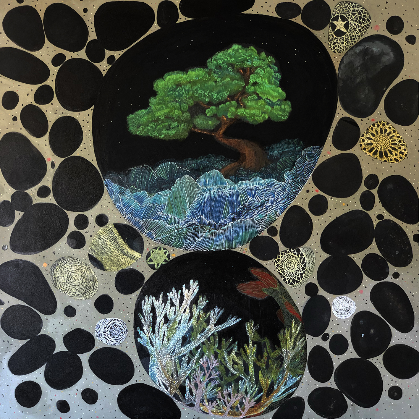 Offerings for Namazu , Acrylic Ink on Wood, 95cm x 95cm, 2019