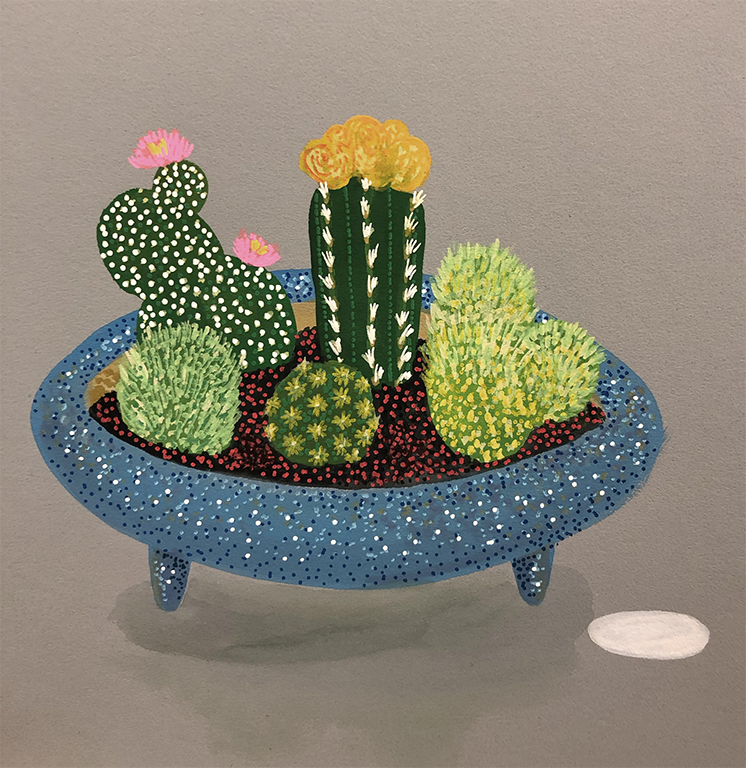 Cactus 2 . 30cm x 30cm. Mounted & framed under glass.