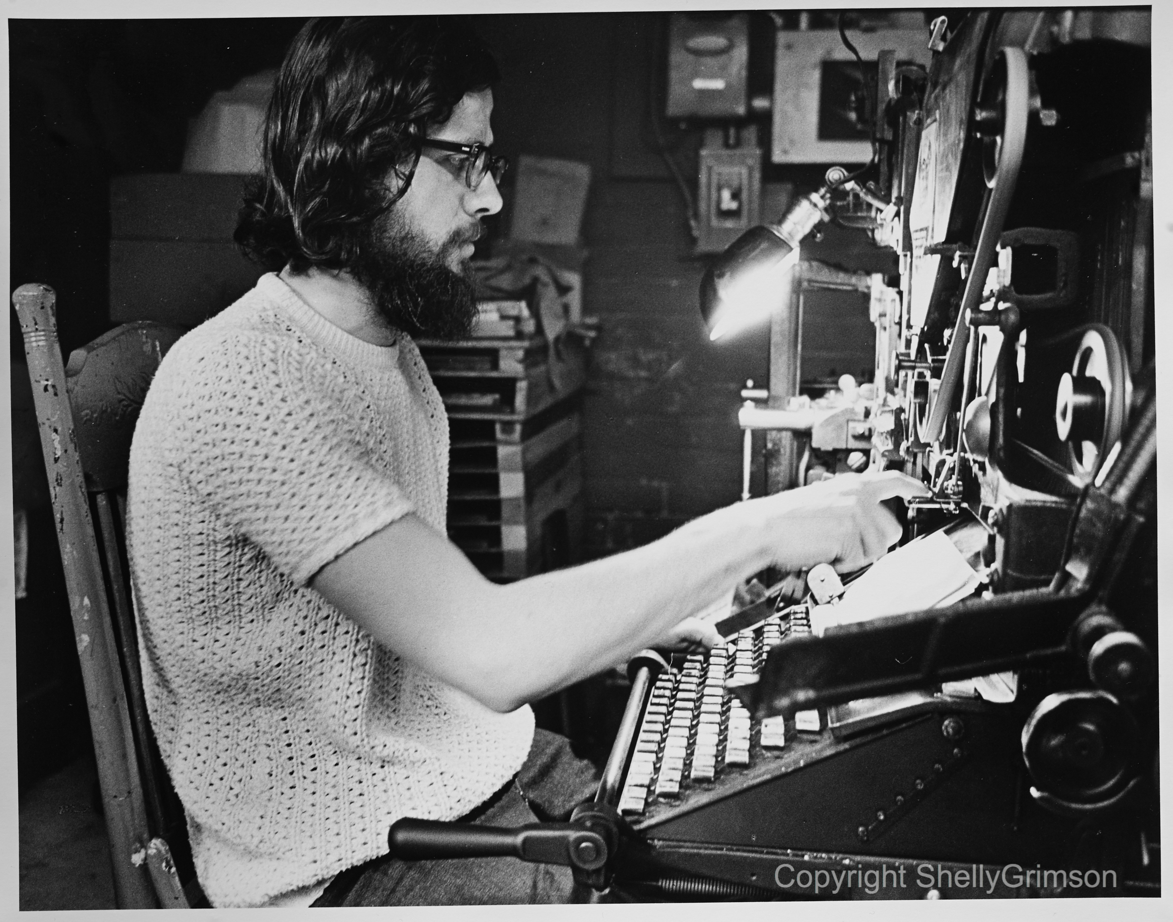 Before there was e-mail… Victor Coleman at his typewriter, 1970