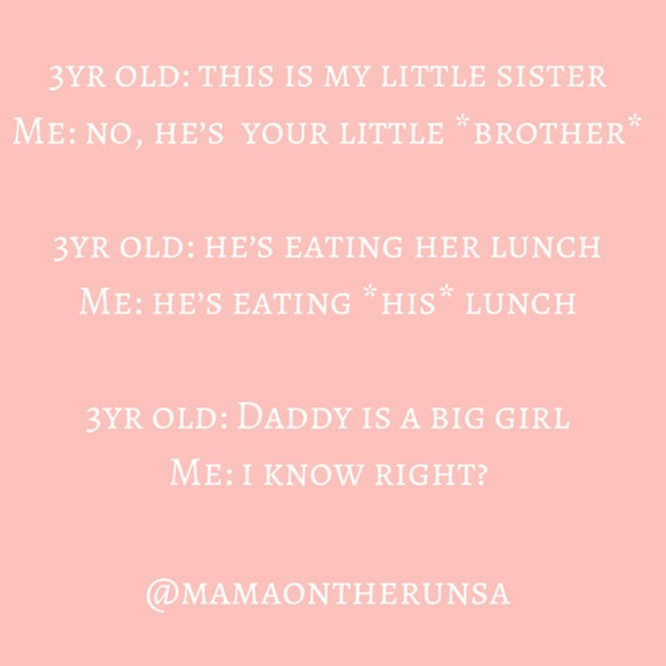 I don't know if it's a quirk or a speech impediment but this little lady of mine really battles with personal pronouns sometimes 🤦🏼‍♀️ ⠀⠀⠀⠀⠀⠀⠀⠀⠀ .⠀⠀⠀⠀⠀⠀⠀⠀⠀ But other times she gets it spot on 😉⠀⠀⠀⠀⠀⠀⠀⠀⠀ .⠀⠀⠀⠀⠀⠀⠀⠀⠀ 🤣🤣🤣🤣⠀⠀⠀⠀⠀⠀⠀⠀⠀ #mamaontherun #motherhood #motherhoodrising #motherhoodunplugged #parenting #honestparenting #momblog #momblogger #samomblogger #mommyblogger #momoftwo #parentingblog #mamabear #mamahood #harhar #parentingmemes #allthelols #threenager #littlelady #raisinglittles #cracksmeup