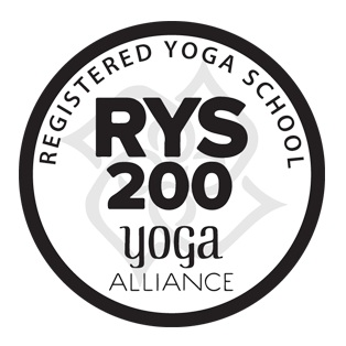 A logo showing that the Indaba Yoga Studio teacher training diploma is fully recognised and accredited by 'Yoga Alliance USA at 200 hours level'