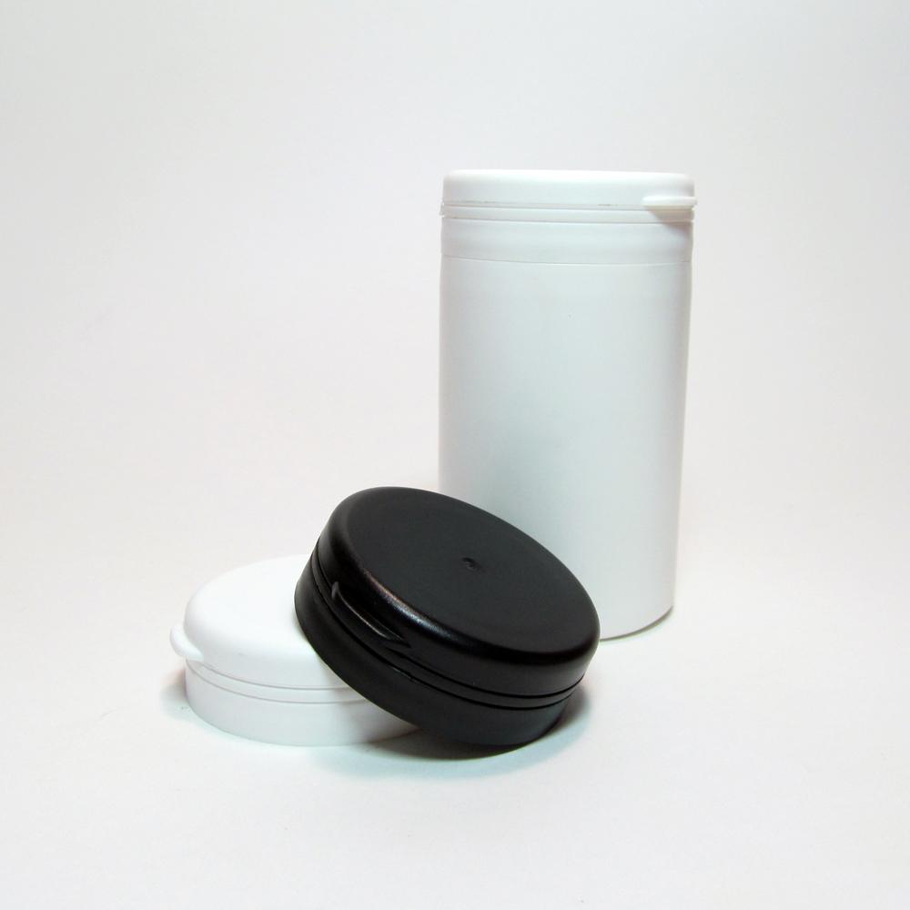 Tamper-proof, flip top cap.