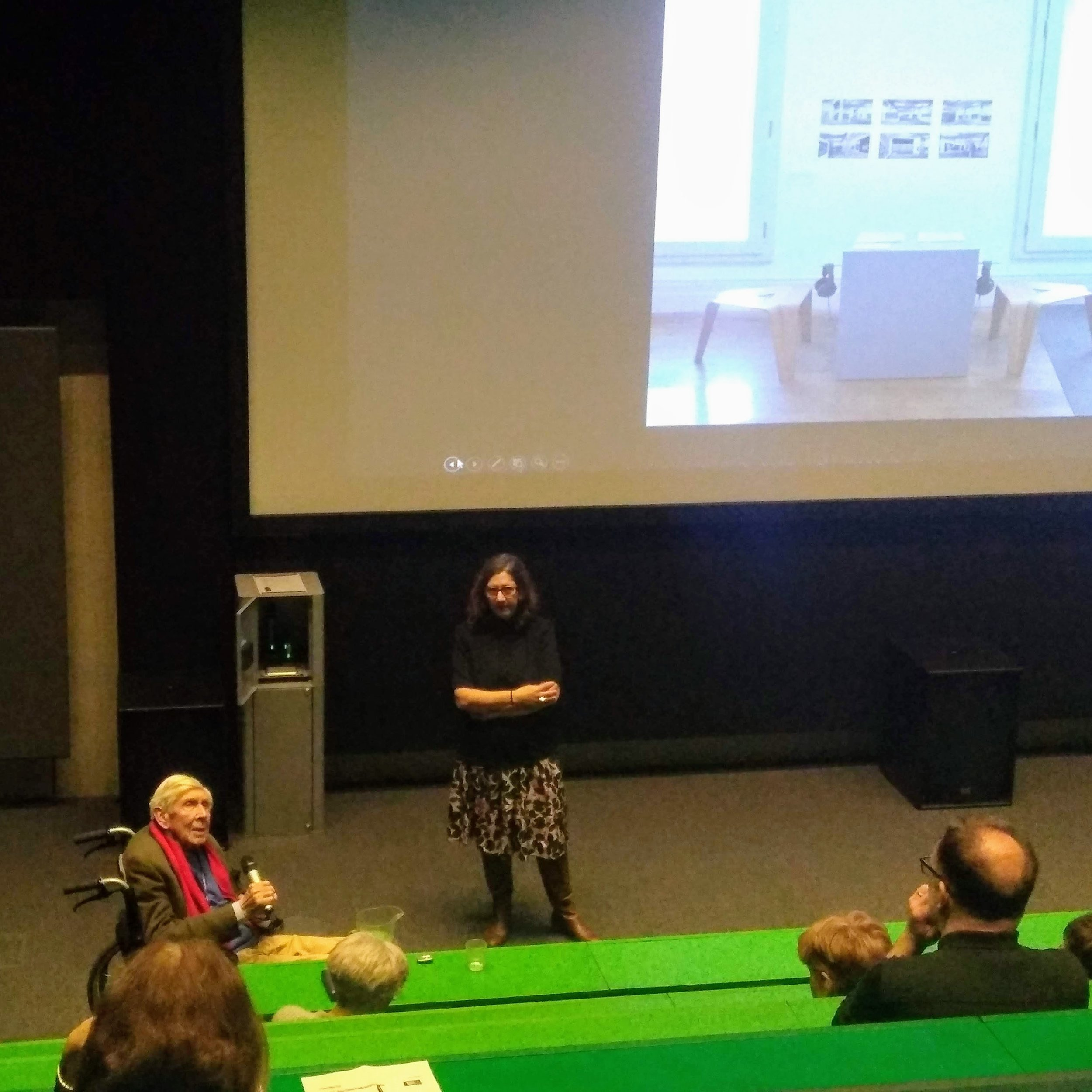 Picture from the talk with Trevor Dannatt and Nayia Yiakoumaki