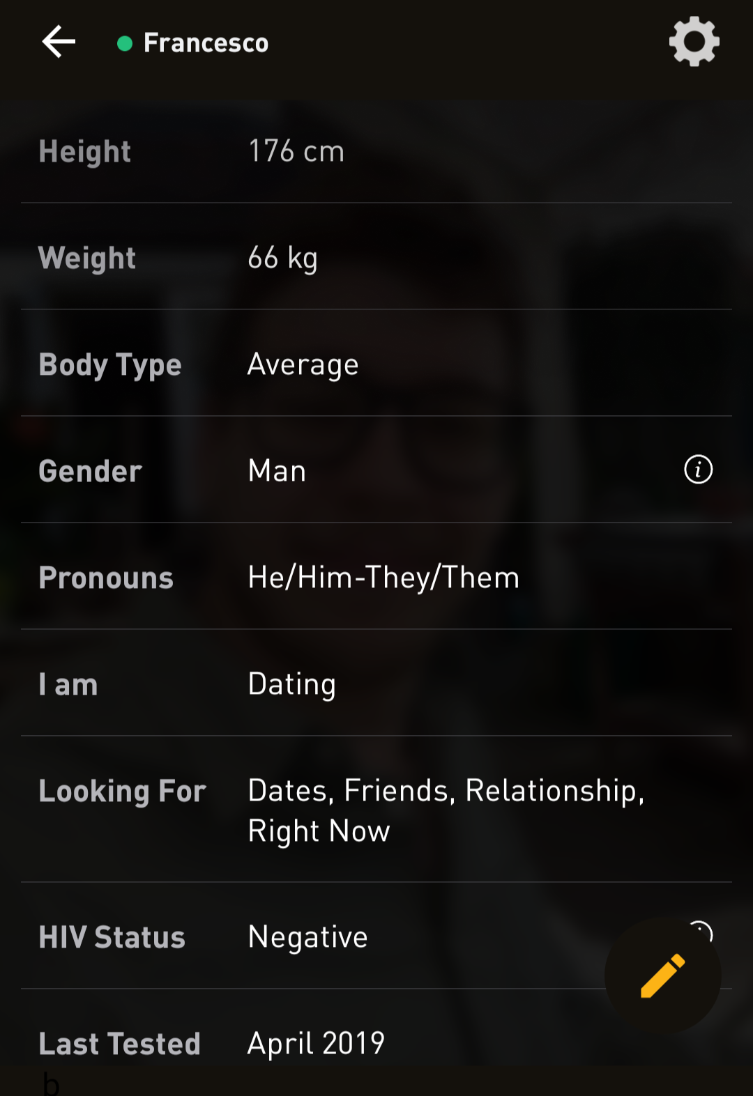 My Grindr profile and every possible way I could label myself.