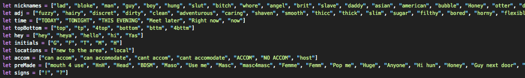 Pool of names I collected and inserted into Javascript arrays by category.