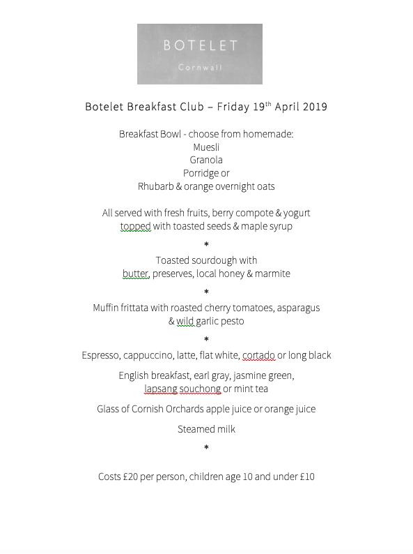 Breakfast Club Sample menu