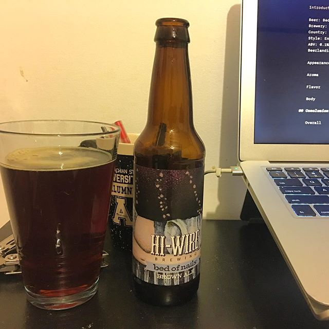 I'm impressed at how well an #NC #brewery has 'nailed' the #brownale style while adding its own local character to it.  #localbeer #beer #craftbeer #ncbeer #hiwirebrewing #hops #beerreview #armchairconniseur  https://www.passportbeerlandia.com/reviews/hi-wire-bed-of-nails-brown-ale
