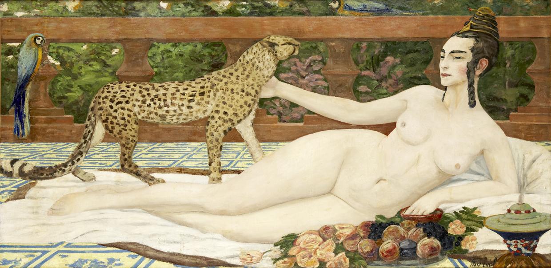 Odalisque au Guépard, Jacqueline Marval, 1901. Oil on canvas, 100 cm x 200 cm. Former Ambroise Vollard collections, then Oscar Ghez, Musée du Petit Palais, Geneva. Private Collection, Grenoble.