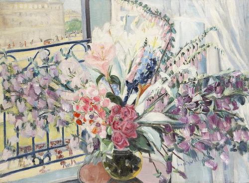 Grand Bouquet à ma Fenêtre, Jacqueline Marval. Oil on canvas, 110 x 150 cm.  Private collection, Paris.