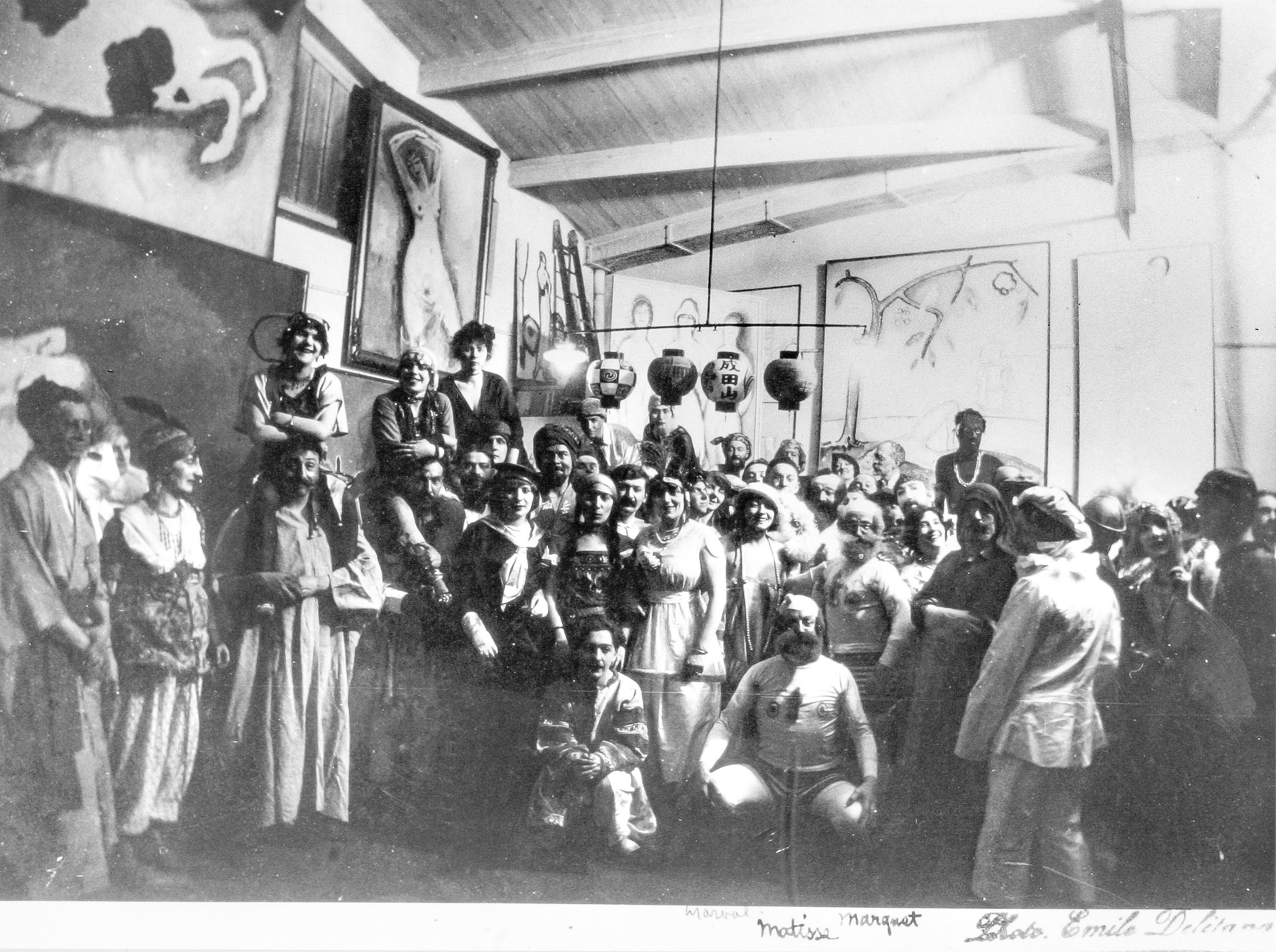 Van Dongen bal, April 1914. Marval at the center next to Matisse and Marquet.
