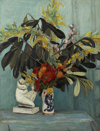 Bouquet Sombre ou Fleurs à la Statuette, Jacqueline Marval, 1907. Huile sur toile, 116 x 89 cm. Collection privée, Paris.