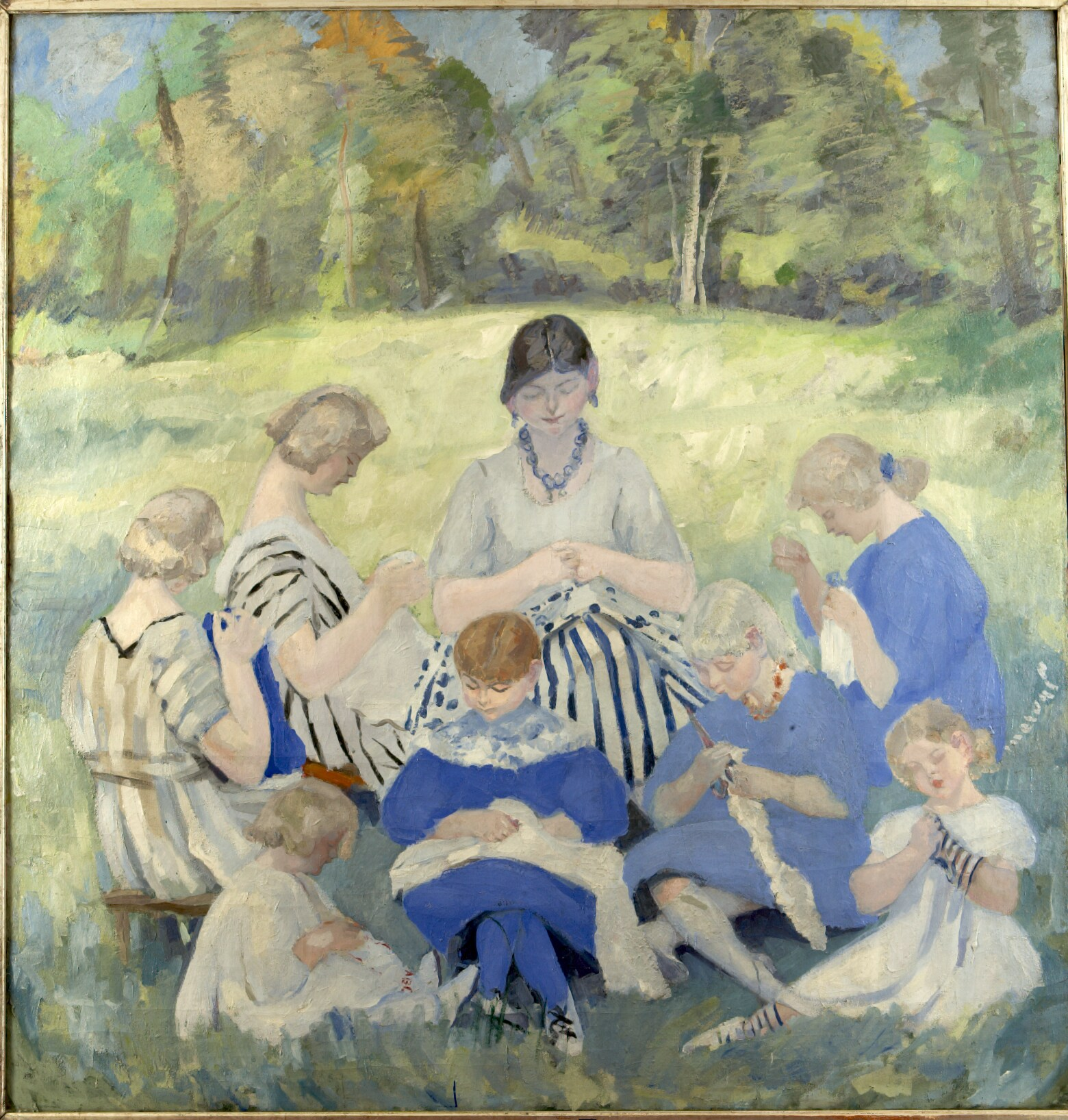 Les Soeurs Couseuses, Jacqueline Marval 1912. Oil on canvas, 200 x 200 cm. Galerie Katia Granof et Pierre Larock collection, Paris.