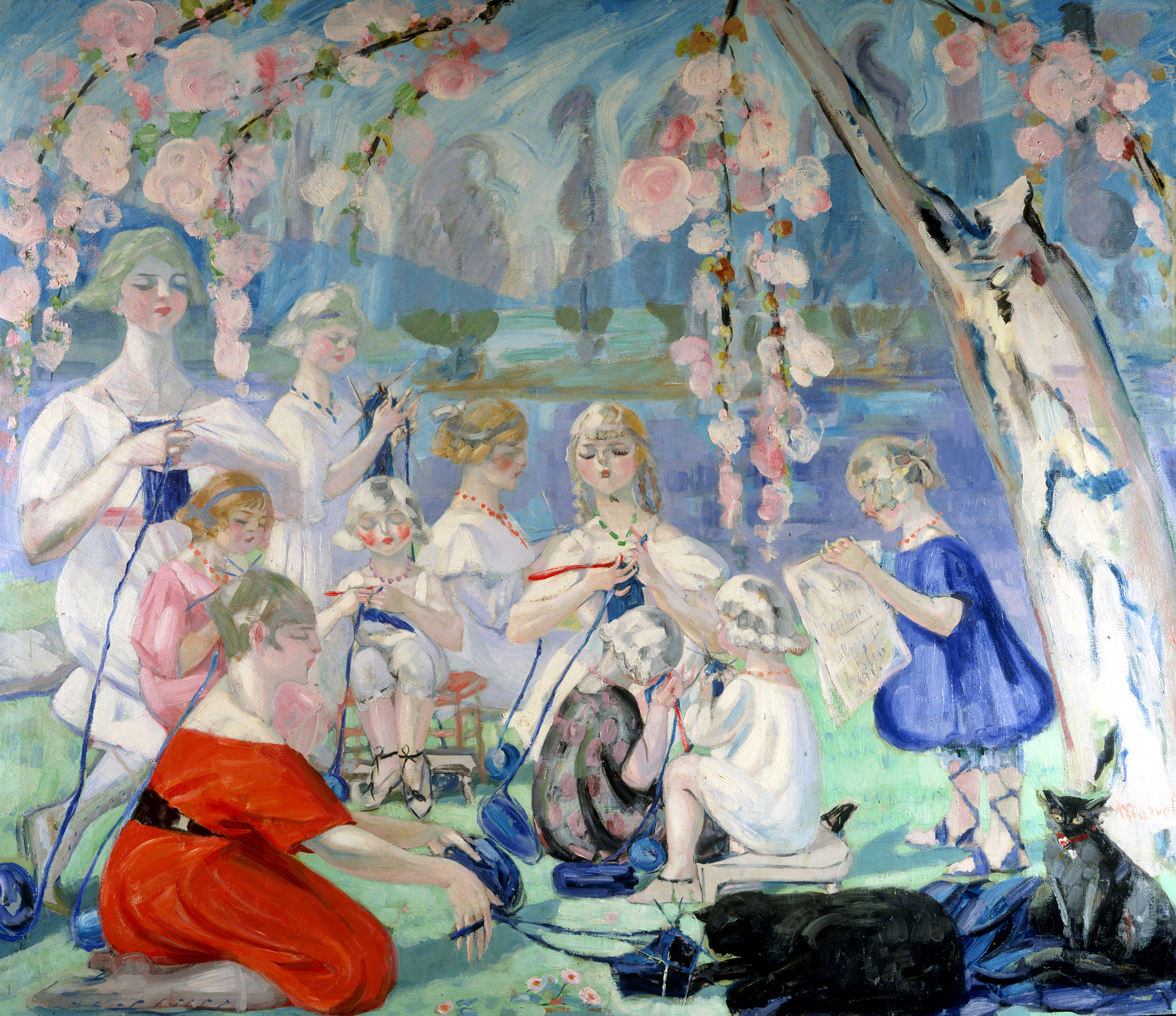 Les Tricoteuses, Jacqueline Marval, 1915. Oil on canvas, 210 x 242 cm. Private collection, Paris.