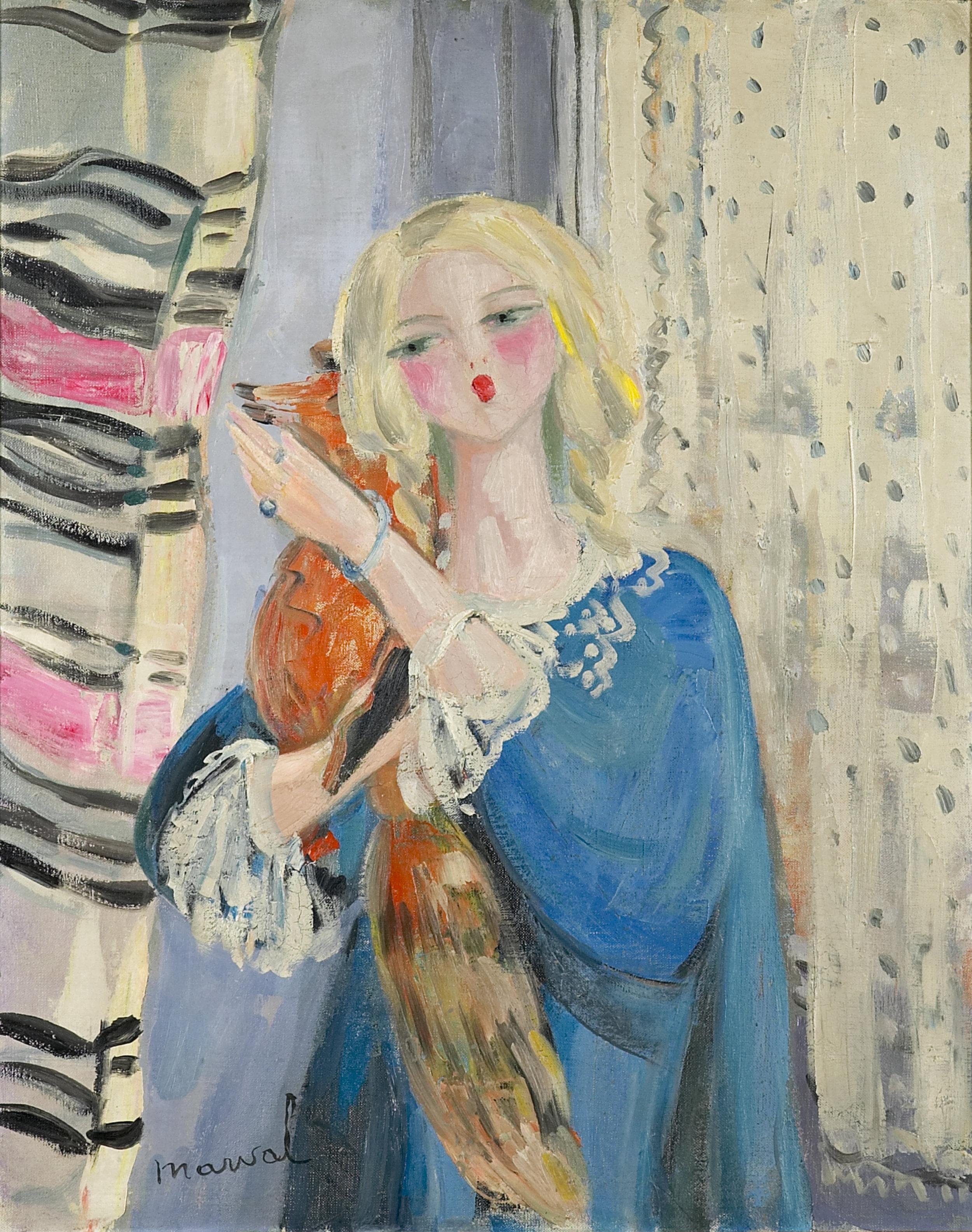 L'Enfant au Renard, Jacqueline Marval, 1922. Huile sur toile, 81 cm x 65 cm. Ancienne collection Tabarant, collection privée, Boston, U.S.A.