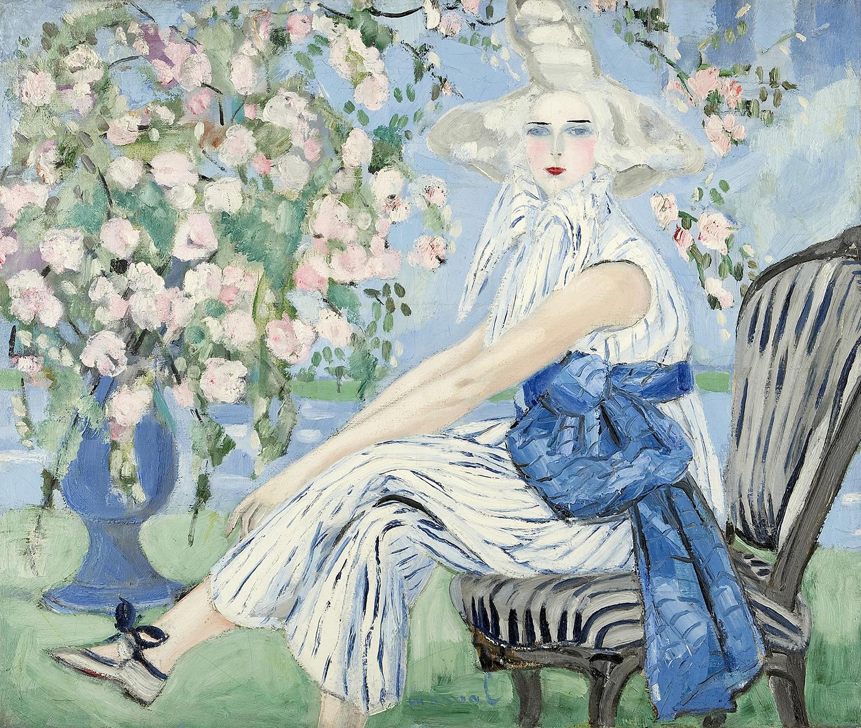 """La Figurante, Jacqueline Marval, 1923. Huile sur toile, 102 cm x 123 cm. Portait de Dolly Davis. Aussi connu sous le nom de """"La Mystérieuse"""". Collection privée, Paris."""