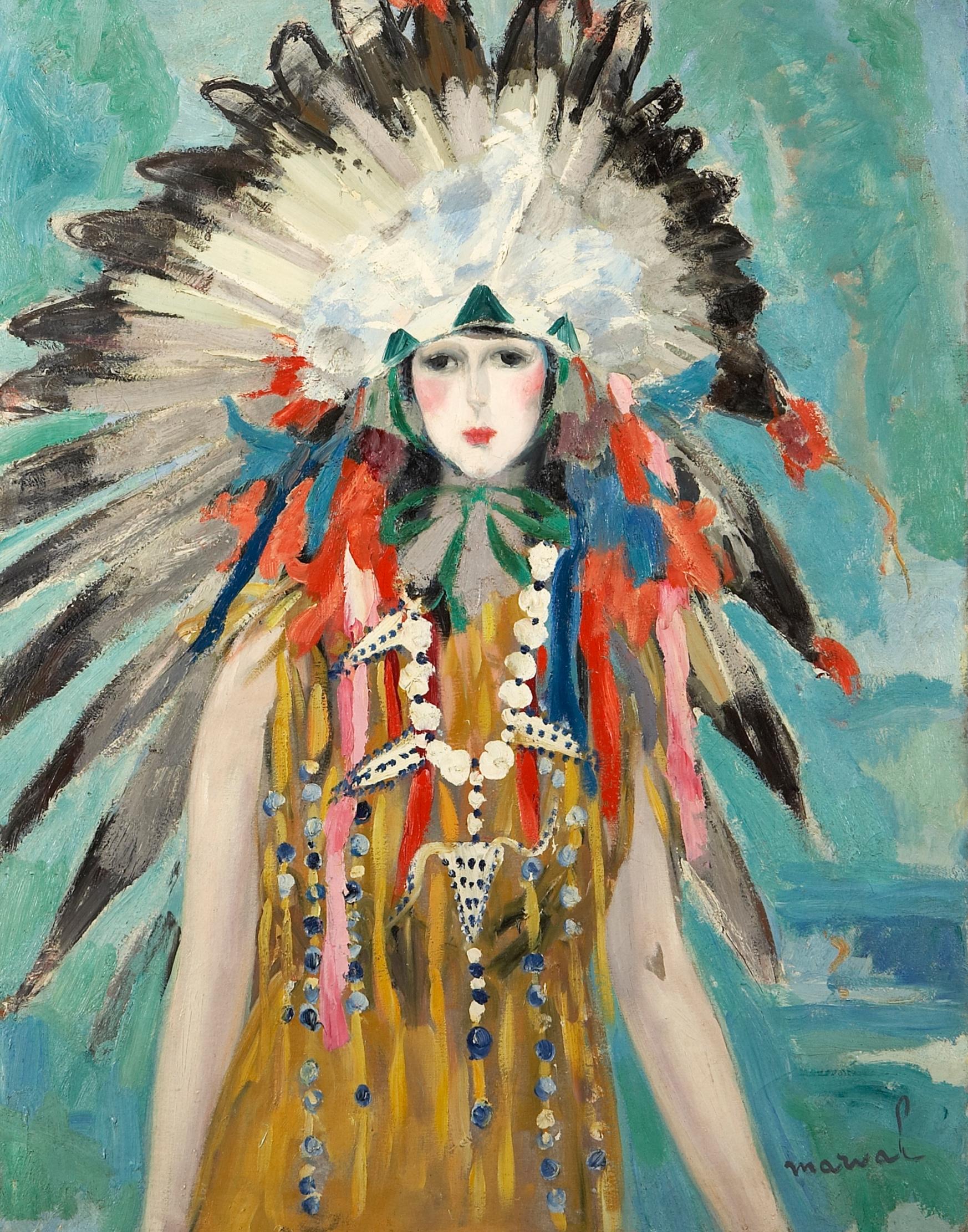 La Reine des Sioux, portait de Madame G. Menier, Jacqueline Marval, 1923. Huile sur toile, 116 cm x 89 cm. Ancienne collection Paul Baignières, Paris. Collection privée, U.S.A.