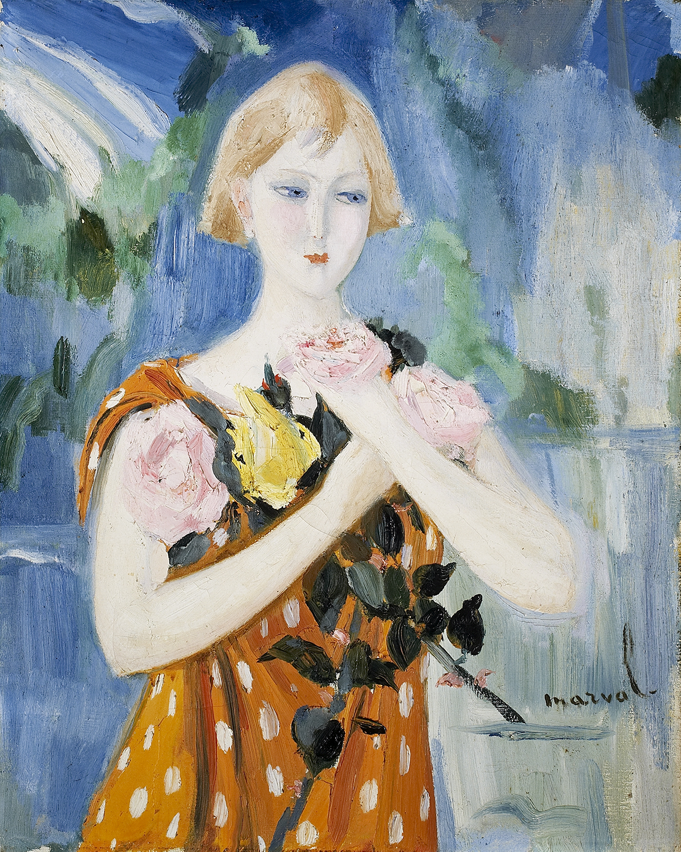 Agnès et ses Roses, Jacqueline Marval, 1925-1926. Huile sur toile, 81 cm x 65 cm. Collection R. Patris d'Uckermann.