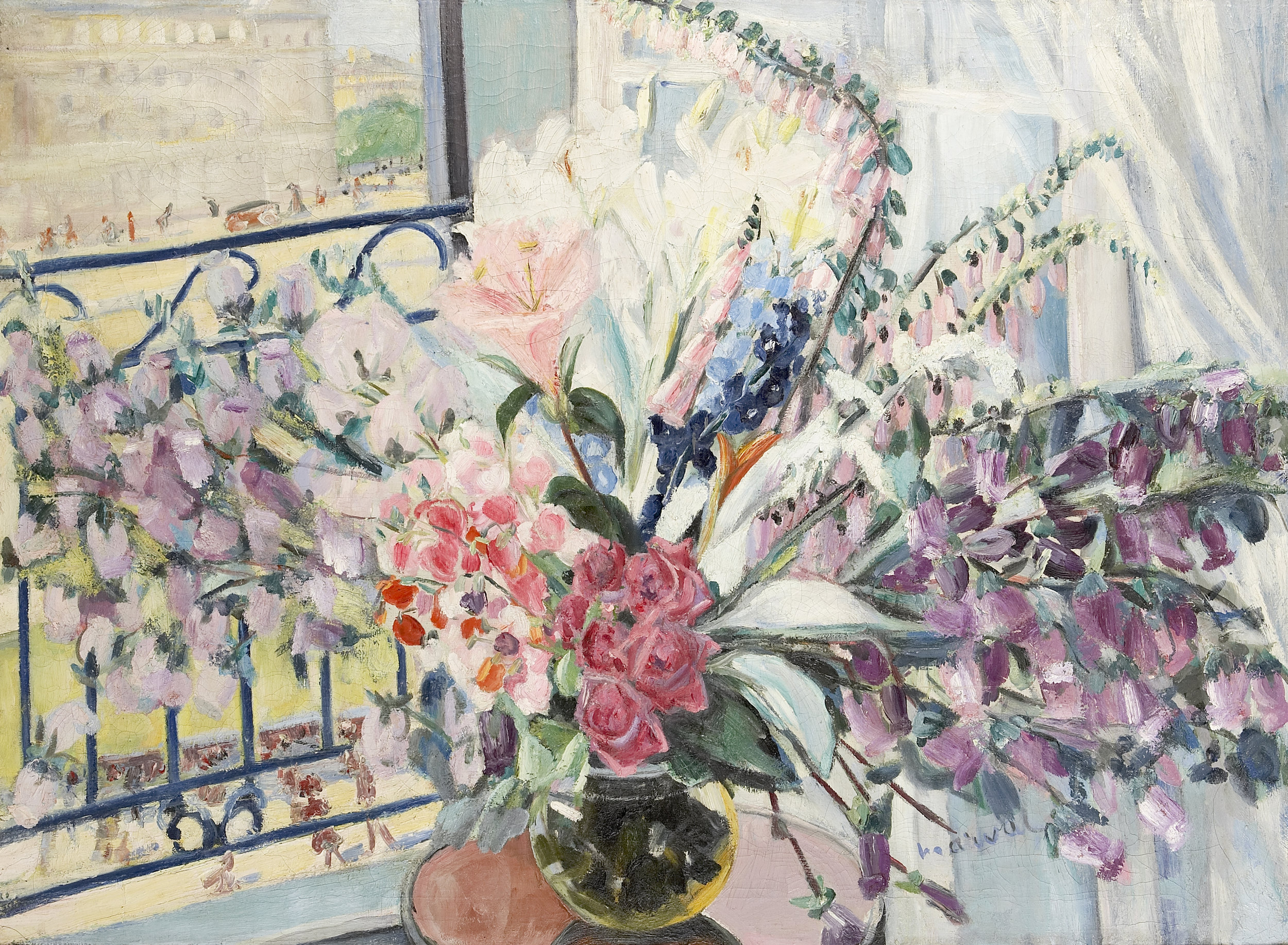 Grand Bouquet à ma Fenêtre, Jacqueline Marval. Oil on canvas, 110 x 150 cm. Private collection.