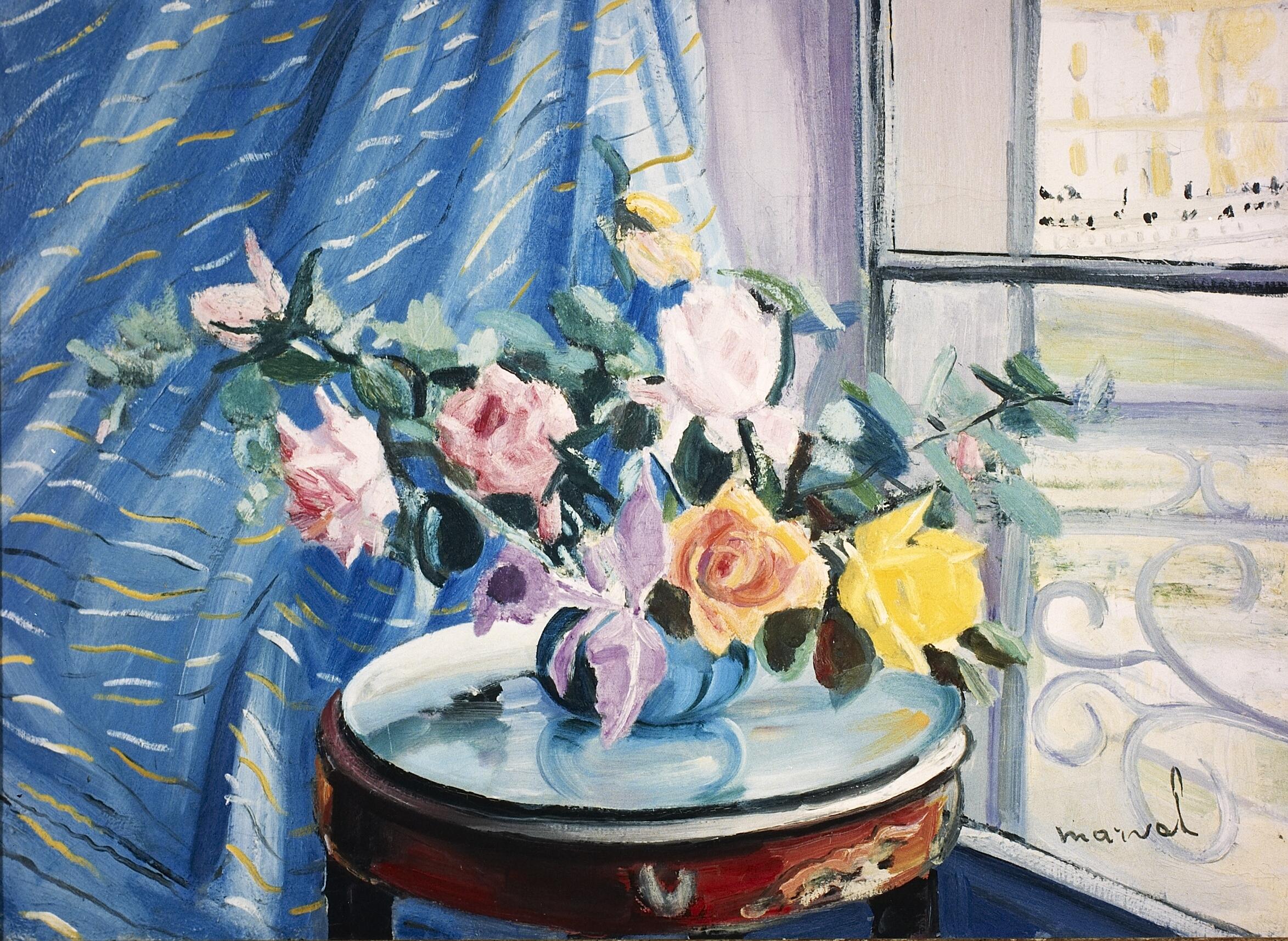 Roses à ma Fenêtre, Jacqueline Marval. Huile sur toile.
