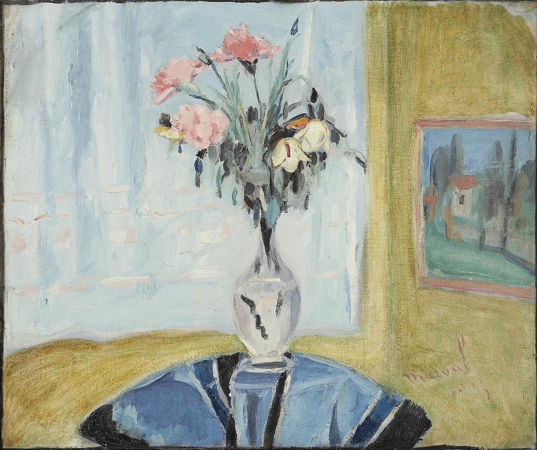 Bouquet sur Guéridon Bleu, Jacqueline Marval. Huile sur toile.
