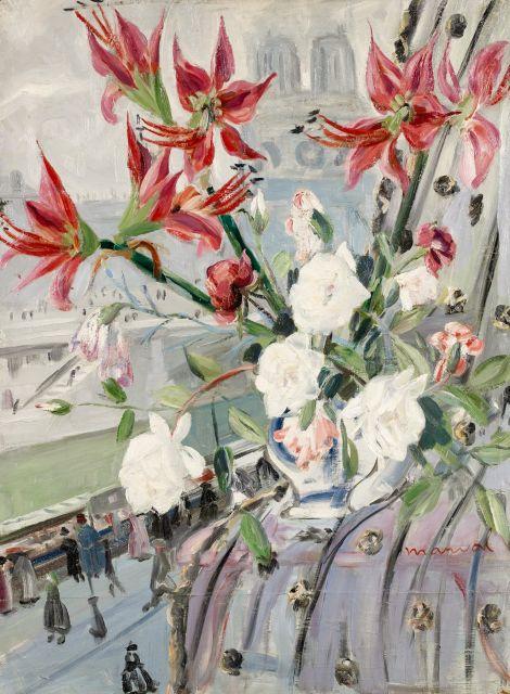 Fleurs devant Notre-Dame, Jacqueline Marval. Huile sur toile, 116 cm x 89 cm.