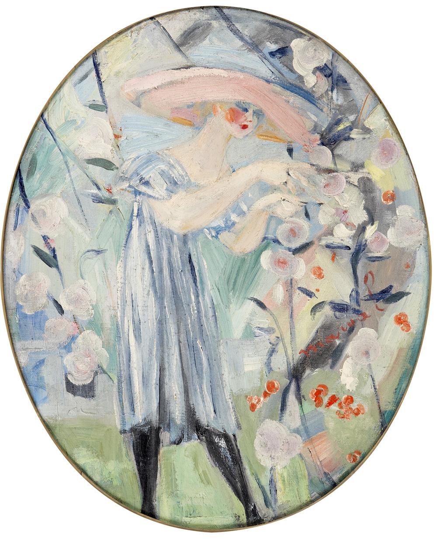 LES QUATRE SAISONS, PRINTEMPS, JACQUELINE MARVAL, 1917. HUILE SUR TOILE, 64 CM X 55 CM. COLLECTION LAROCK-GRANOFF, PARIS.
