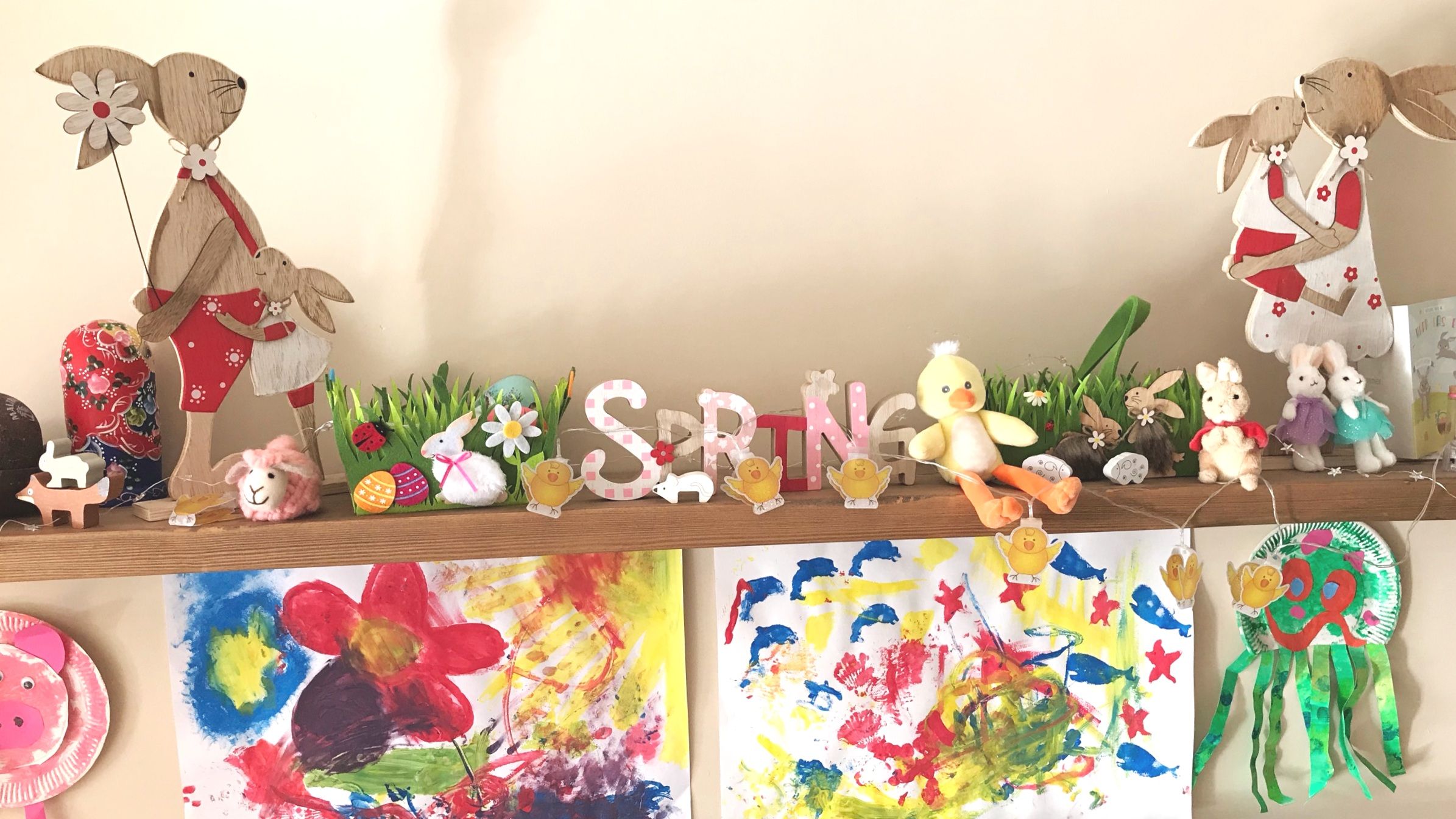 Our lovely Spring decorations in our home and Sophia's art work that she is very proud of.