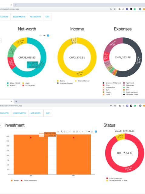 No.3-2019FineBank - A new simple, yet powerful app to analyze the status of your personal finances.I created this web-based software project over a few weekends for friends and family.It includes an automated reader of Bank Statements and some cool Interactive visualisations of Investments, Cash Accounts, Expenses, Income, and Net Worth.