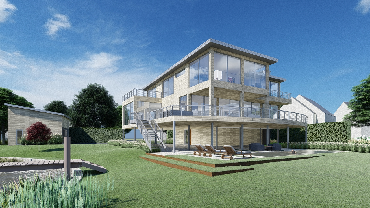 Rendering of Osprey Point by GA. Follow along for a behind the scenes look at the design development and construction of this modern waterfront property in Greenwich, CT.