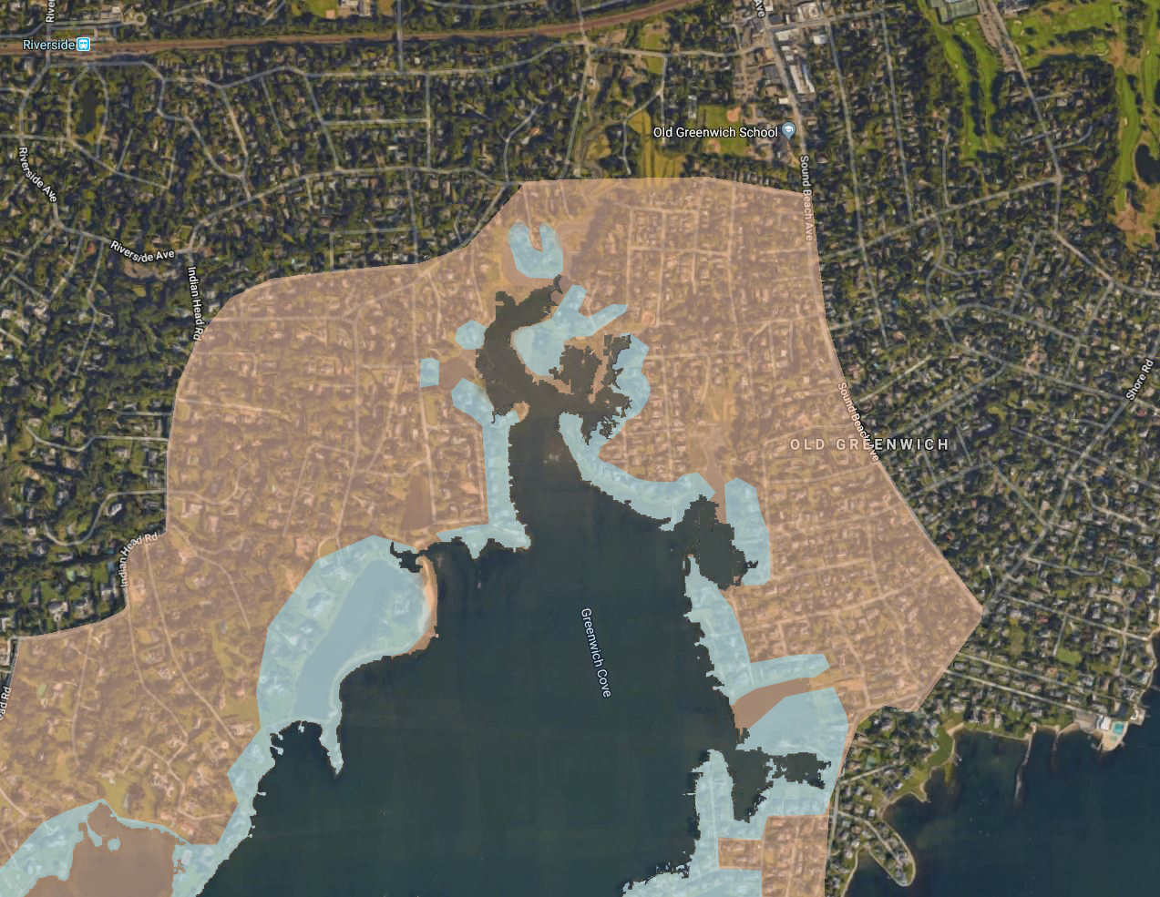 While the orange shading encompasses the waterfront community of Greenwich Cove, the blue shading illustrates the properties that are located directly on the waterfront.  (Image via Google Earth)