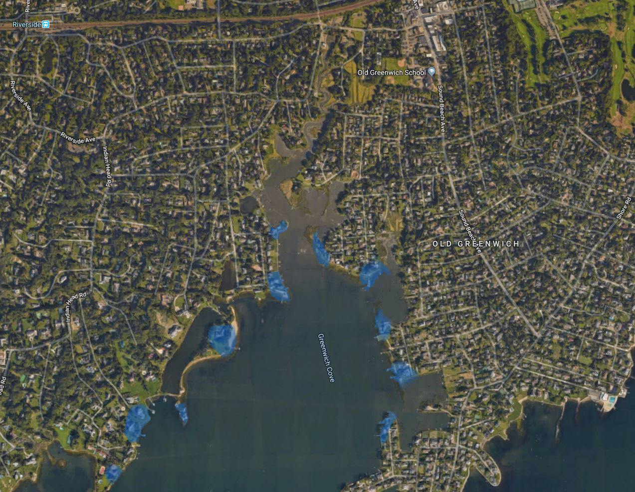 Focusing on oversized properties which feature expansive waterfront views, inventory to a limited selection.  (Image via Google Earth)