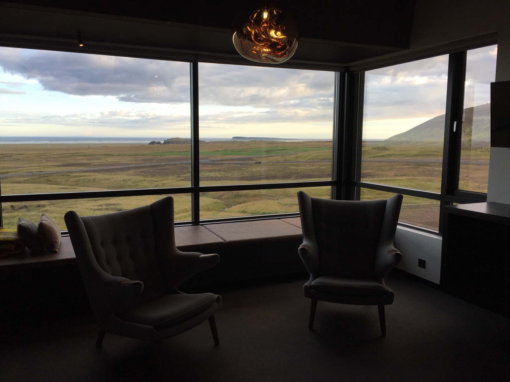 The view from this hotel room, located on the water outside Reykjavik, becomes the focal point of the design.  Image courtesy of Rich Granoff