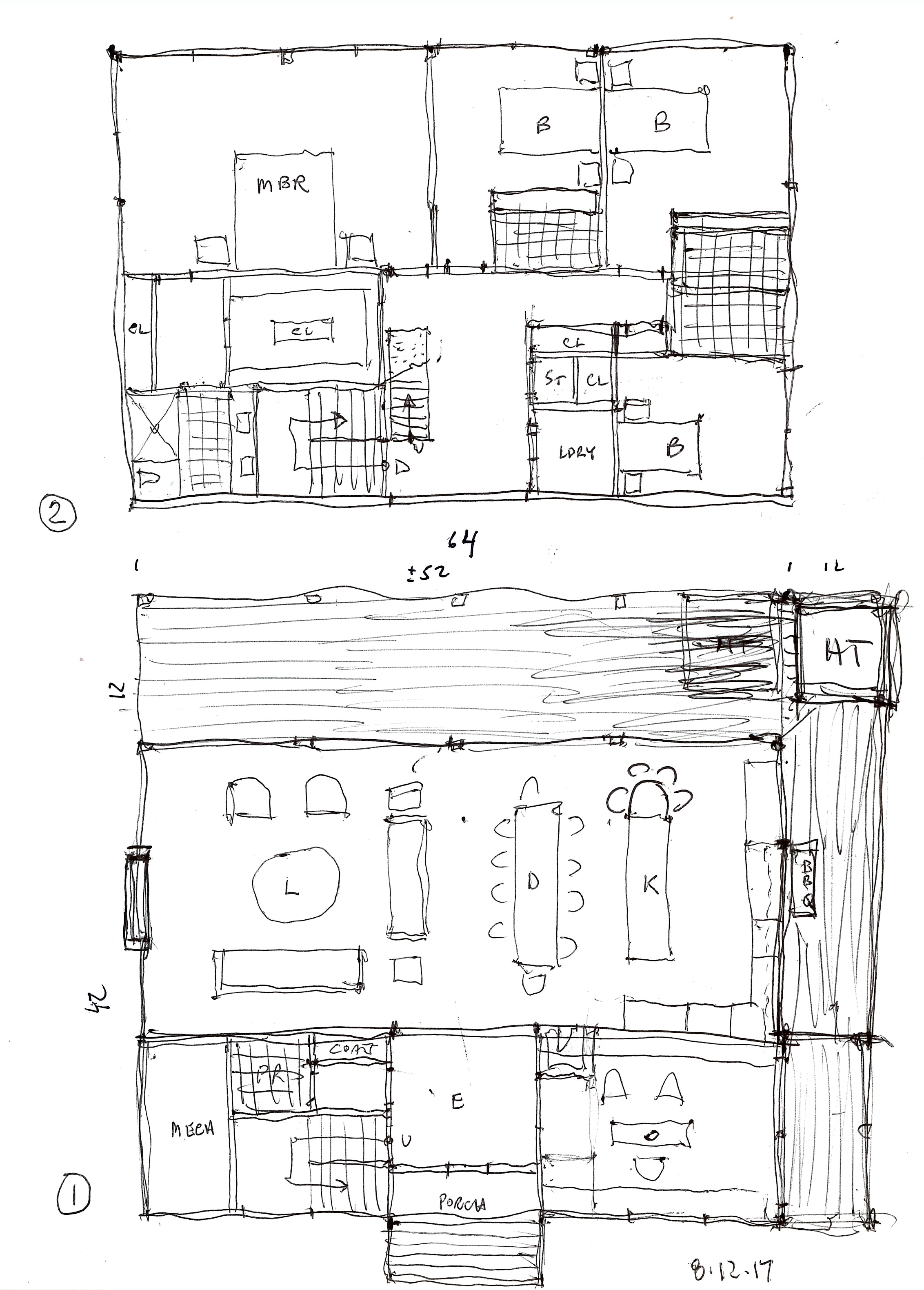 Floor plan sketches of the new Granoff residence.  Image courtesy Rich Granoff
