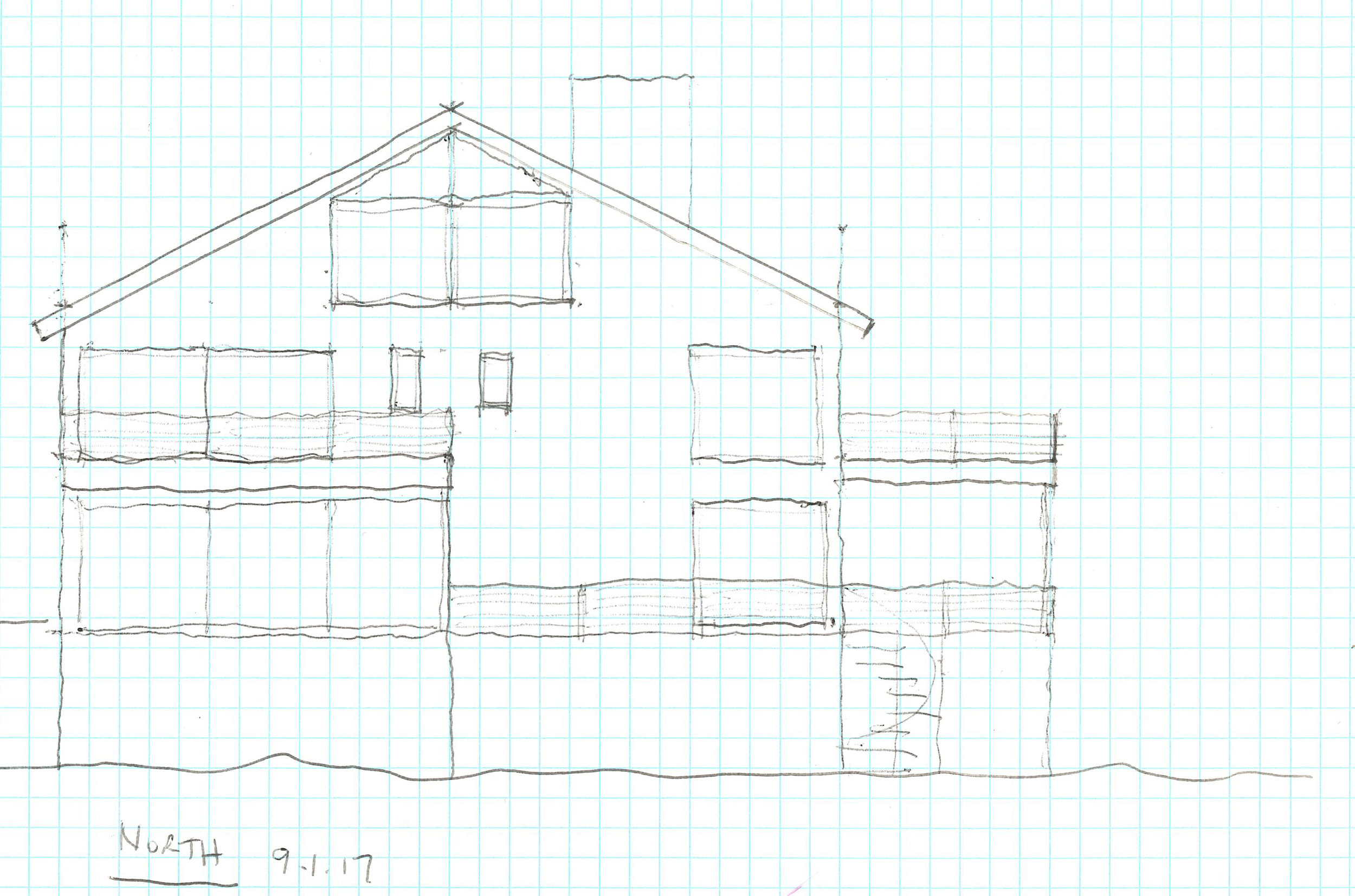 North elevation sketch of the new Granoff residence.  Image courtesy Rich Granoff
