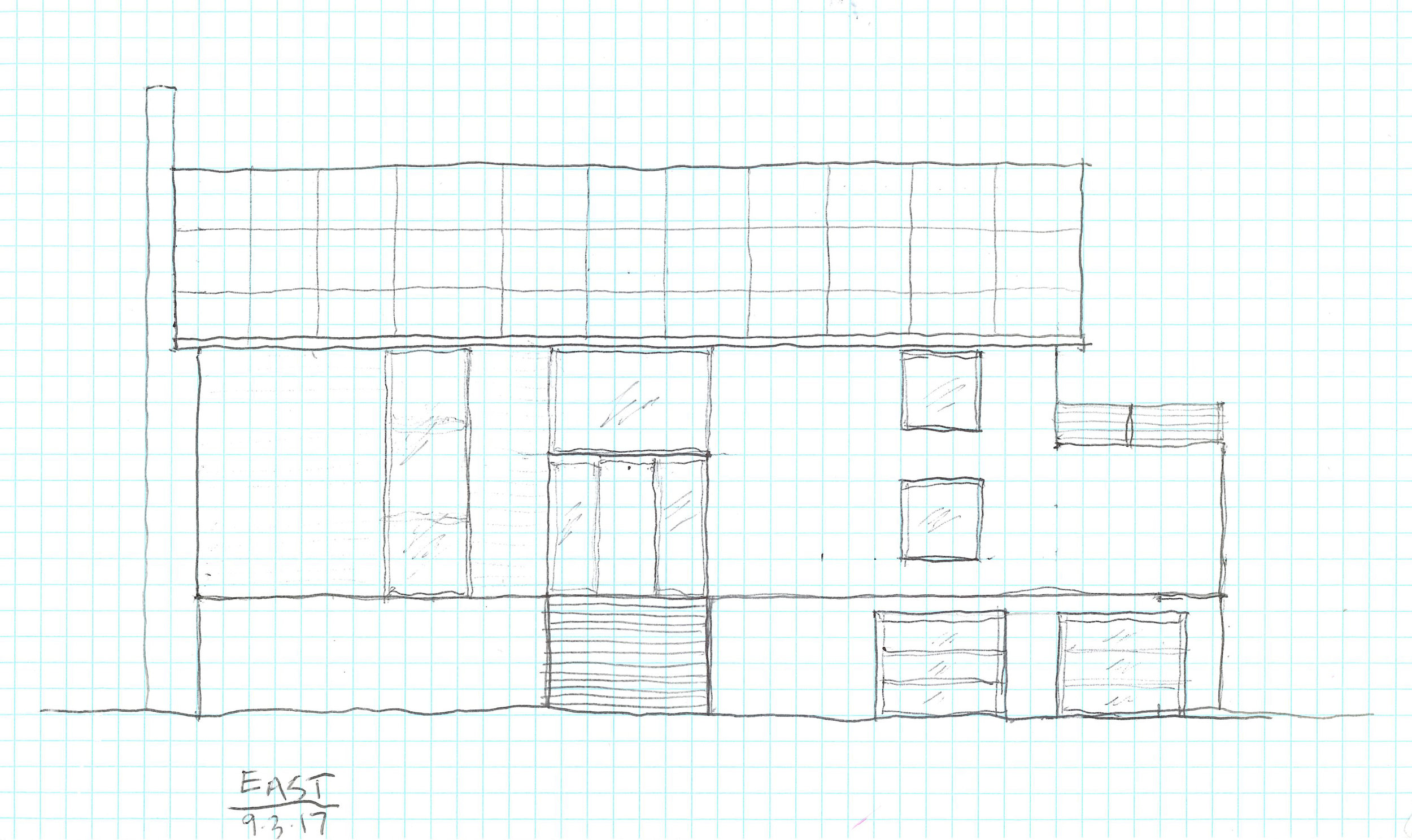 East elevation sketch of the new Granoff residence.  Image courtesy Rich Granoff