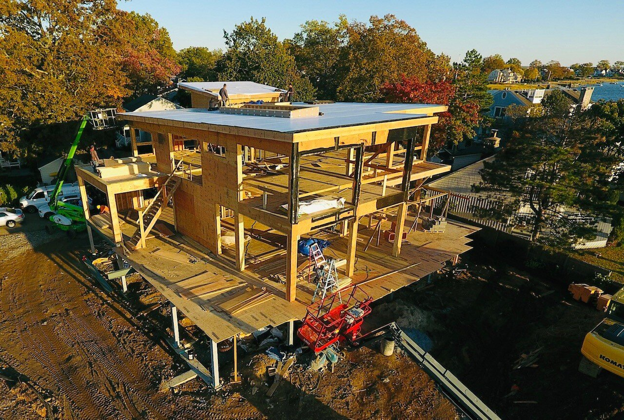 Wood framing complete at Osprey Point. Glass is next!  Image via Granoff Architects.