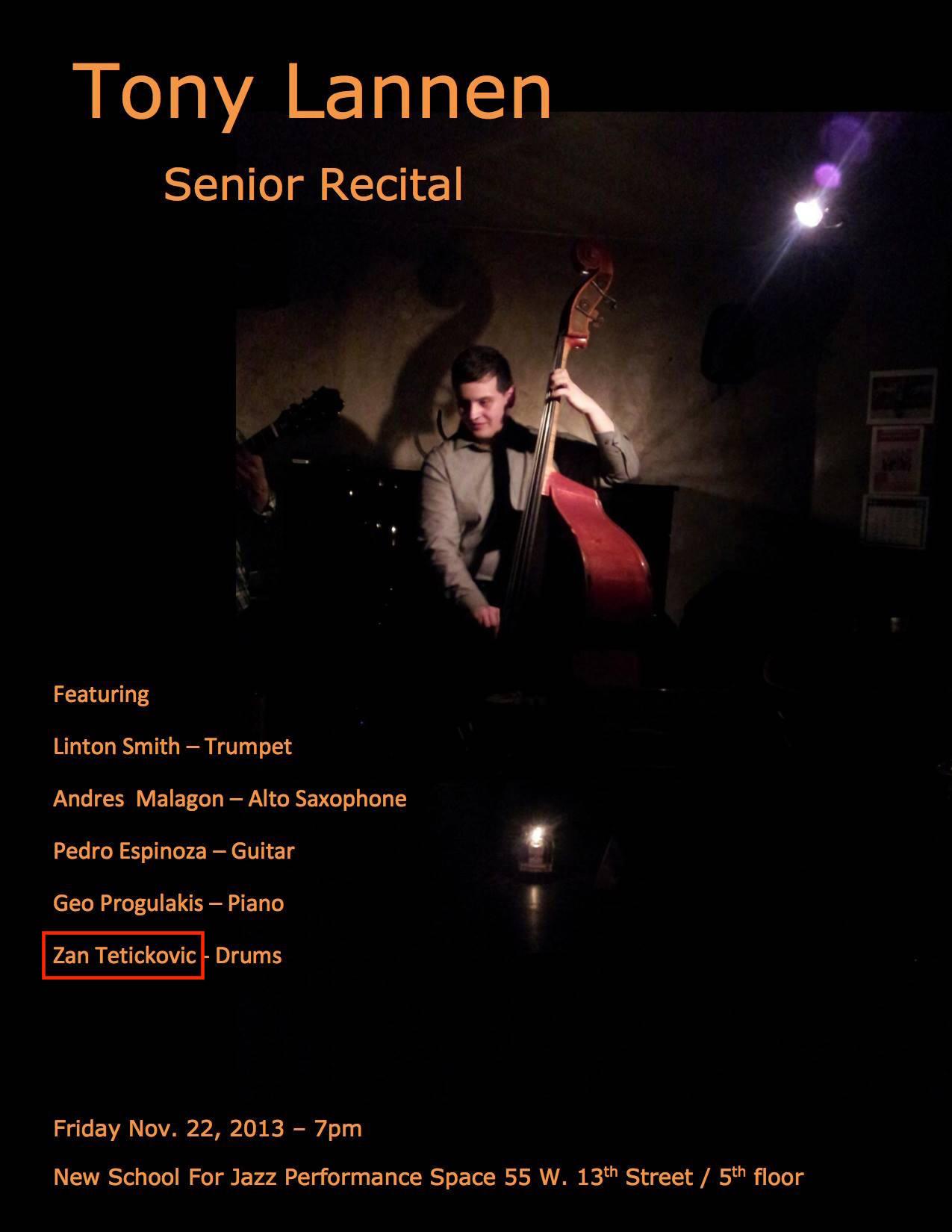 Tony Lannen Senior Recital : New School (NY, USA) : (November 22 2013).jpg