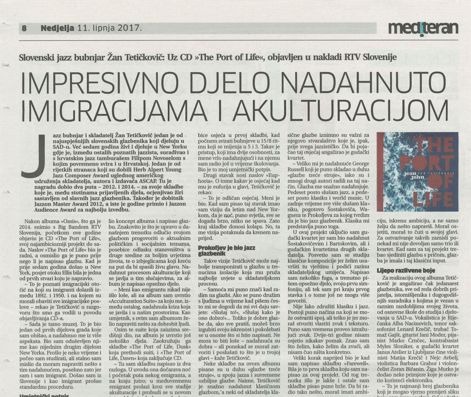 Impresivno djelo nadahnuto imigracijama i akulturacijom - Davor Hrvoj, 11. 6. 2017, Mediteran
